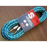 STAGG 20ft Vintage Tweed Instrument Cable Green New