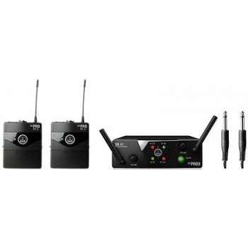 AKG WMS40MINI2 Dual Wireless Instrument Set w/2 Body Packs 30hrs on 1 AA Battery