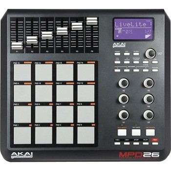 AKAI MPD26 MPC-pad controll surface with 16 MPC pads, Q-link controls, MPC swing