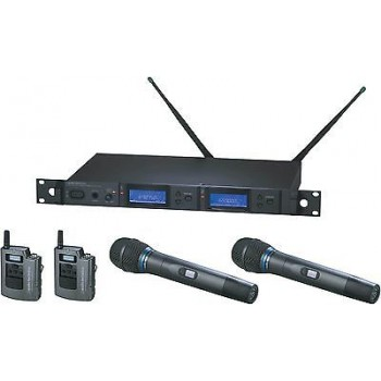 Audio Technica AEW 5413aC Duel System with Pairs of Body Pack and Handheld Trans
