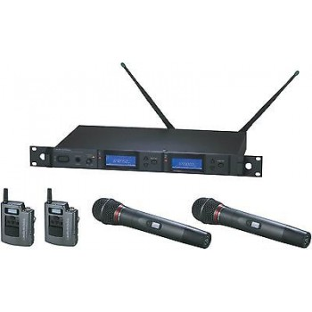 Audio Technica AEW 5414aC Duel System with Pairs of Body Pack and Handheld Trans