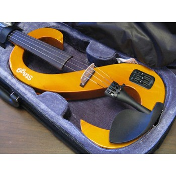 STAGG EVN4/4-H Electric Violin Headphones, Case Honey Finish  New